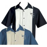 "Charlie Sheen Shirt ""CONTRAS CROWNS BUTTON UP"" Schwarz Grau - ST34574BLACK"
