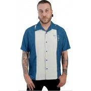 "Charlie Sheen Shirt ""CONTRAS CROWNS BUTTON UP"" Blau Grau - ST34574BLUE"