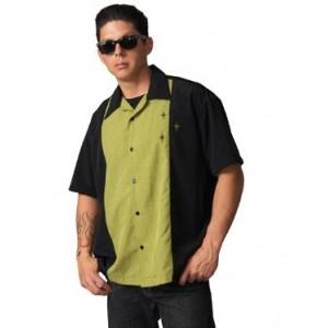 """Charlie Sheen Shirt """"Crosshatch Button Up"""" Schwarz Grün - ST34577"""