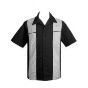"Charlie Sheen Shirt ""Houndstooth Panel Black"" Schwarz Grau - ST35306"