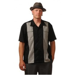 "Charlie Sheen Shirt ""Houndstooth Panel Black"" Schwarz Grau - CL35306 - LAGERWARE"