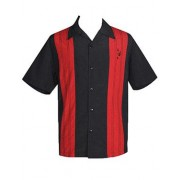 "Charlie Sheen Shirt ""Double Panel Stitch"" Schwarz Rot - CL35311BLK"
