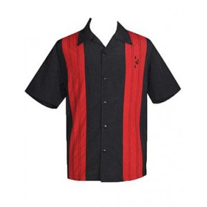 "Charlie Sheen Shirt ""Double Panel Stitch"" Schwarz Rot - CL35311BLK - LAGERWARE"