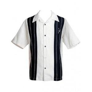 """Charlie Sheen Shirt """"Double Panel Stitch"""" Weiß Schwarz - CL35311STO - LAGERWARE"""