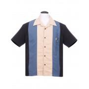 "Charlie Sheen Shirt ""THE TRINITY BUTTON UP"" Blau Grau Schwarz - ST35321BLK - LAGERWARE"