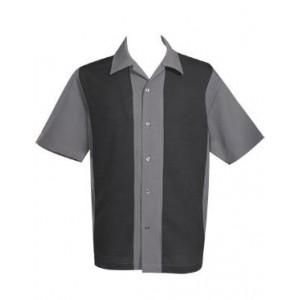 "Charlie Sheen Shirt ""Poplin Mid Panel"" Schwarz Grau - ST37056"