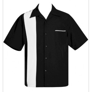"Charlie Sheen Shirt ""Poplin Single Panel"" Schwarz Weiß - ST37090 - LAGERWARE"
