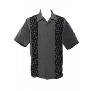 "Charlie Sheen Shirt ""TikiLand Button Up"" Grau - LC35375CHA"